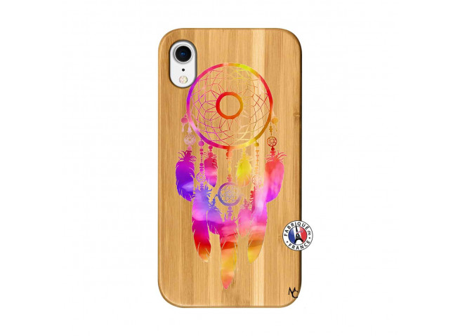 Coque iPhone XR Dreamcatcher Rainbow Feathers Bois Bamboo