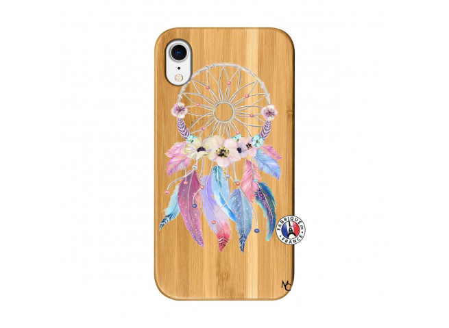 Coque iPhone XR Multicolor Watercolor Floral Dreamcatcher Bois Bamboo