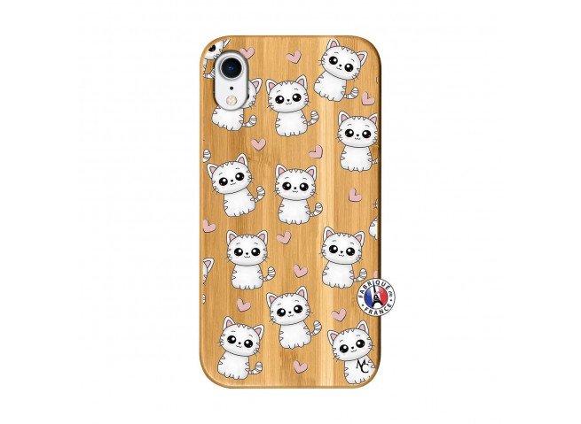 Coque iPhone XR Petits Chats Bois Bamboo