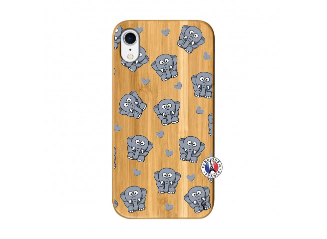 Coque iPhone XR Petits Elephants Bois Bamboo