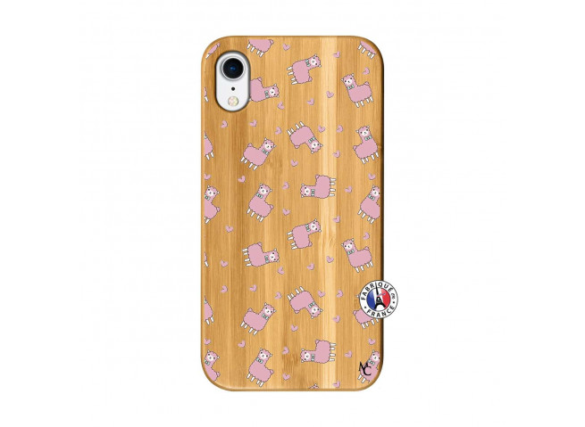 Coque iPhone XR Petits Moutons Bois Bamboo