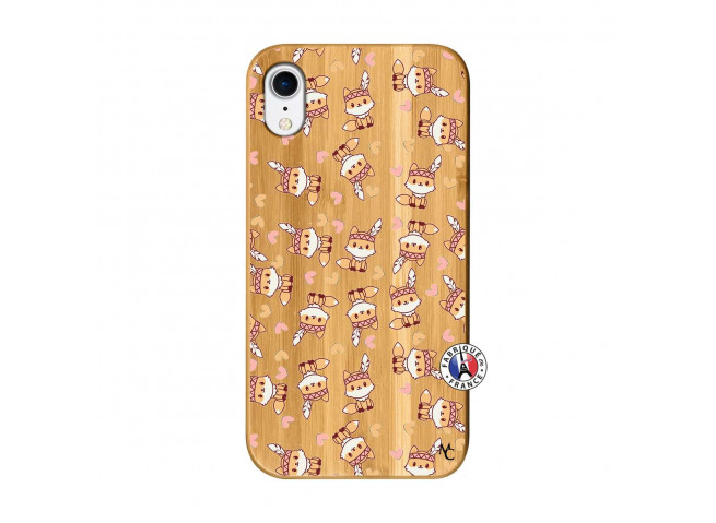 Coque iPhone XR Petits Renards Bois Bamboo