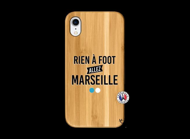 Coque iPhone XR Rien A Foot Allez Marseille Bois Bamboo