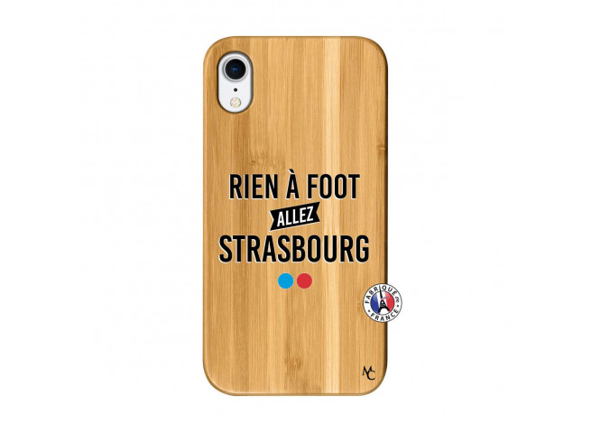 Coque iPhone XR Rien A Foot Allez Strasbourg Bois Bamboo