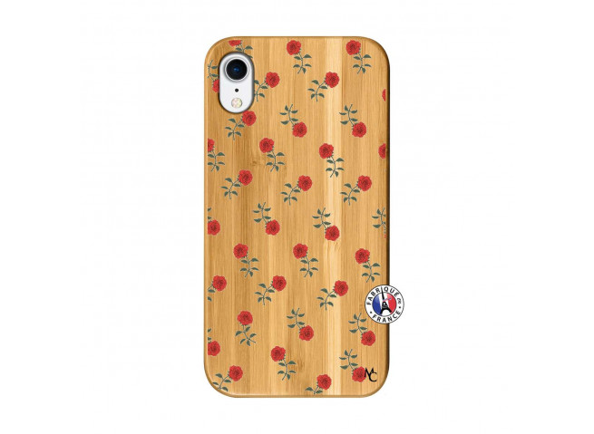 Coque iPhone XR Rose Pattern Bois Bamboo