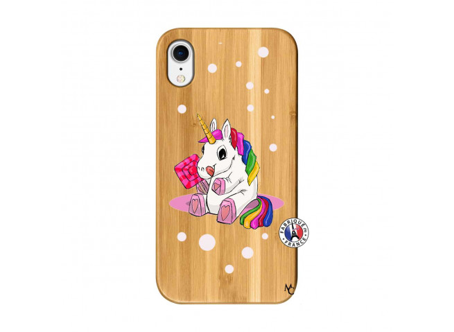 Coque iPhone XR Sweet Baby Licorne Bois Bamboo