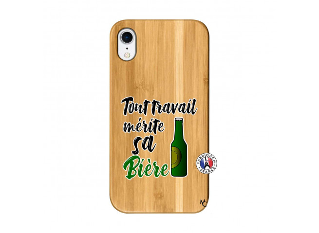 Coque iPhone XR Tout Travail Merite Sa Biere Bois Bamboo