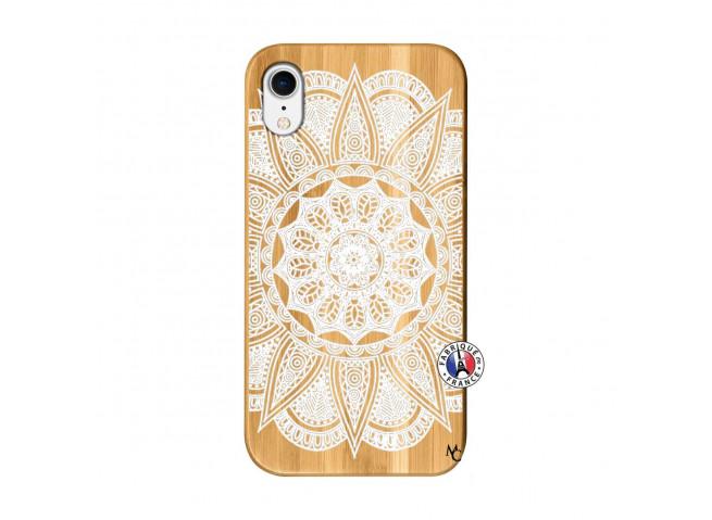 Coque iPhone XR White Mandala Bois Bamboo