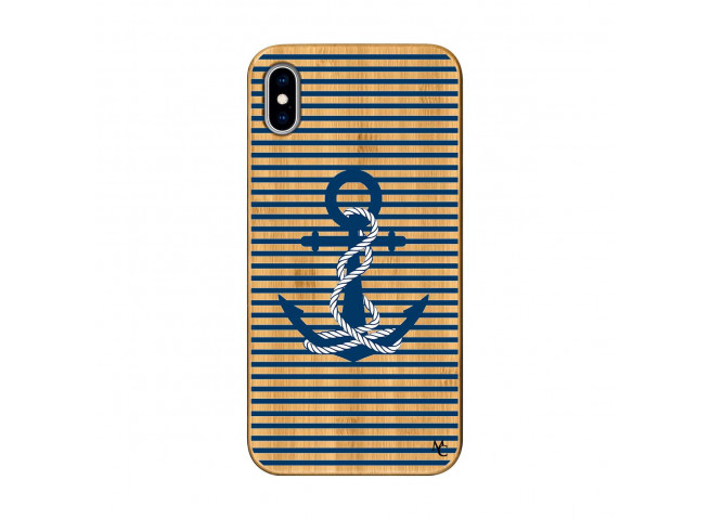 Coque iPhone XS MAX Ancre Bois Bamboo