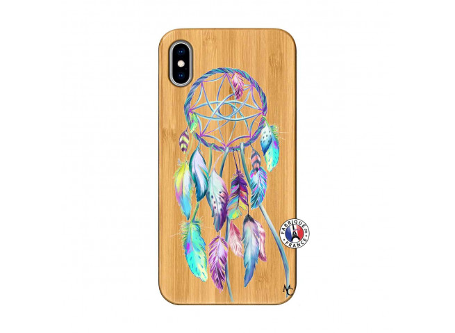 Coque iPhone XS MAX Blue Painted Dreamcatcher Bois Bamboo
