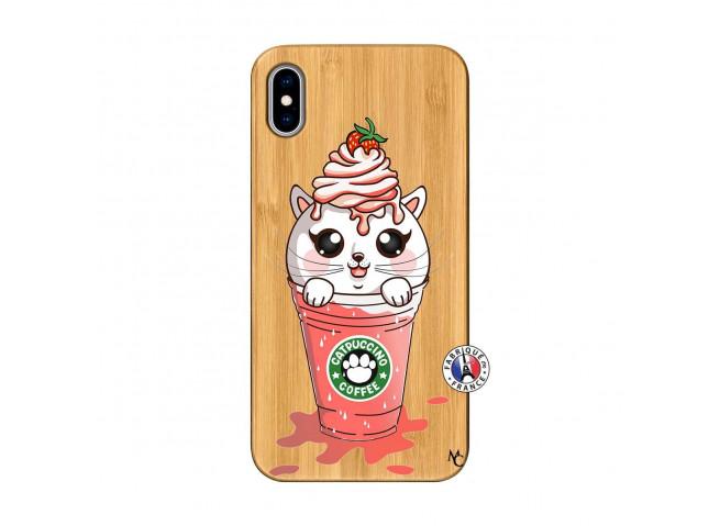Coque Bois iPhone XS MAX Catpucino Ice Cream Smoothie