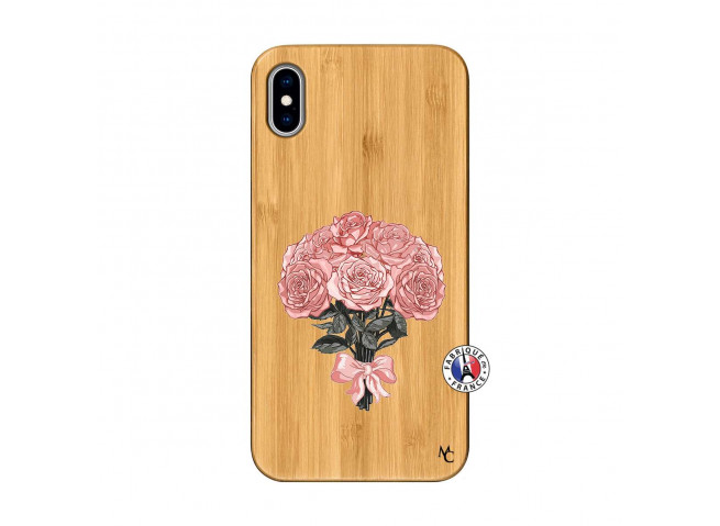 Coque iPhone XS MAX Bouquet de Roses Bois Bamboo