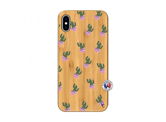 Coque iPhone XS MAX Cactus Pattern Bois Bamboo