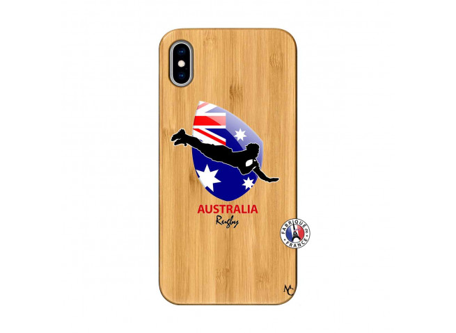 Coque iPhone XS MAX Coupe du Monde Rugby-Australia Bois Bamboo
