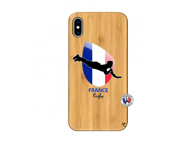 Coque iPhone XS MAX Coupe du Monde de Rugby-France Bois Bamboo