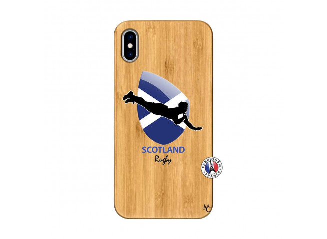 Coque iPhone XS MAX Coupe du Monde Rugby-Scotland Bois Bamboo