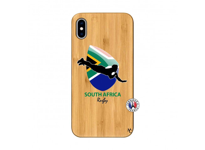 Coque iPhone XS MAX Coupe du Monde Rugby-South Africa Bois Bamboo
