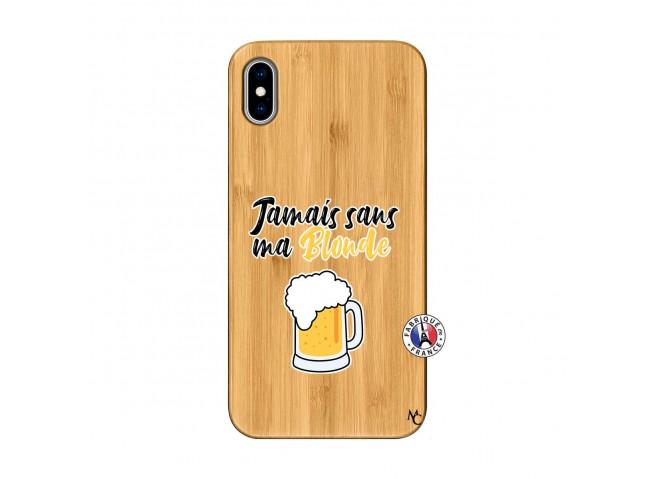 Coque iPhone XS MAX Jamais Sans Ma Blonde Bois Bamboo