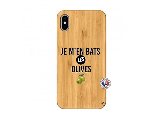Coque iPhone XS MAX Je M En Bas Les Olives Bois Bamboo