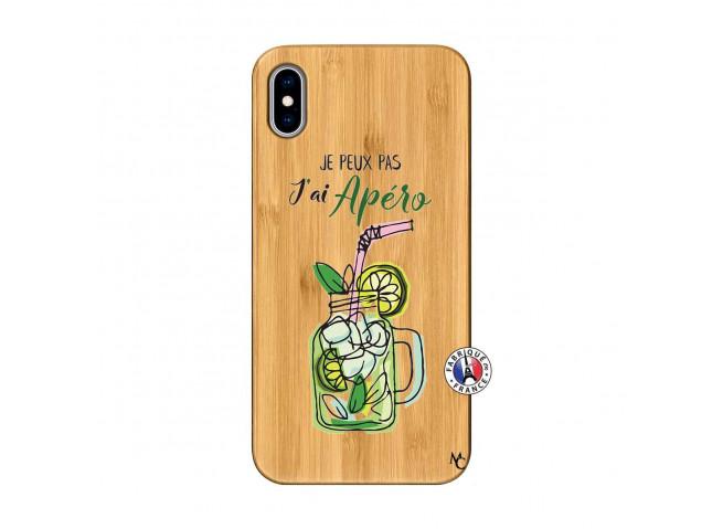 Coque iPhone XS MAX Je peux pas J'ai Apéro Bois Bamboo