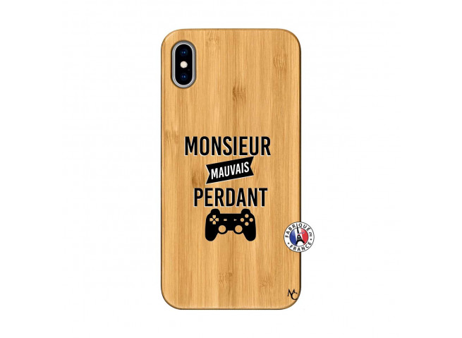 Coque iPhone XS MAX Monsieur Mauvais Perdant Bois Bamboo
