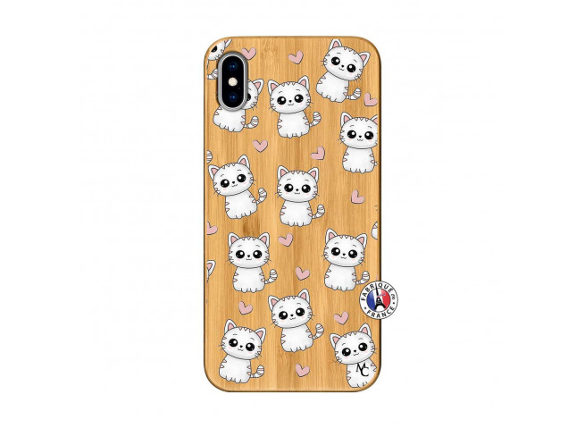 Coque iPhone XS MAX Petits Chats Bois Bamboo