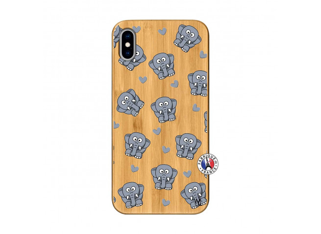 Coque iPhone XS MAX Petits Elephants Bois Bamboo