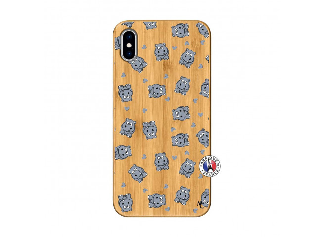 Coque iPhone XS MAX Petits Hippos Bois Bamboo