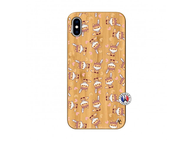 Coque iPhone XS MAX Petits Renards Bois Bamboo