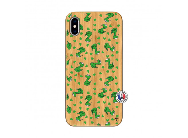 Coque iPhone XS MAX Petits Serpents Bois Bamboo