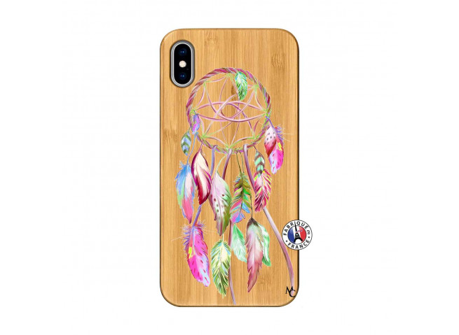 Coque iPhone XS MAX Pink Painted Dreamcatcher Bois Bamboo