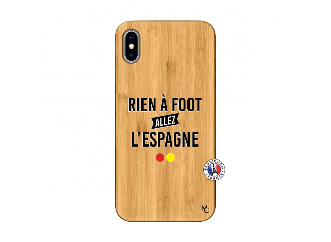 Coque iPhone XS MAX Rien A Foot Allez L'Espagne Bois Bamboo