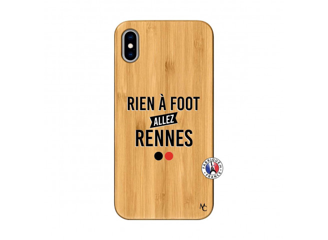 Coque iPhone XS MAX Rien A Foot Allez Rennes Bois Bamboo