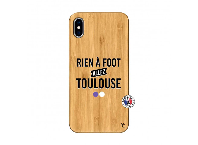 Coque iPhone XS MAX Rien A Foot Allez Toulouse Bois Bamboo