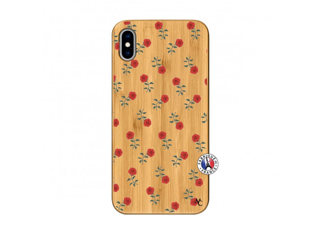 Coque iPhone XS MAX Rose Pattern Bois Bamboo