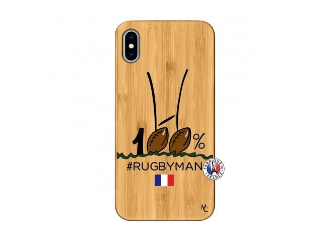 Coque iPhone XS MAX 100 % Rugbyman Entre les Poteaux Bois Bamboo