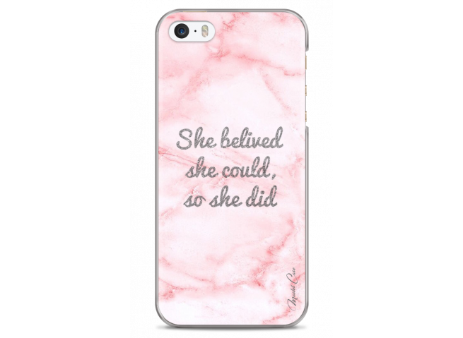 Coque iPhone 5/5s/SE Pink Message Marble