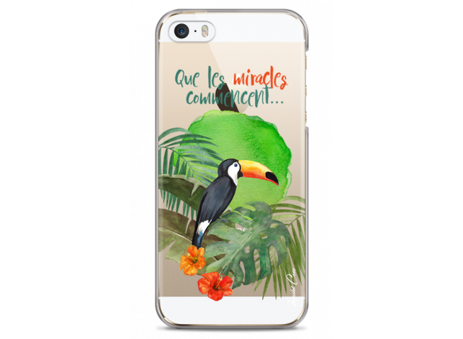 Coque iPhone 5C Tropical watercolor design Que les miracles commencent
