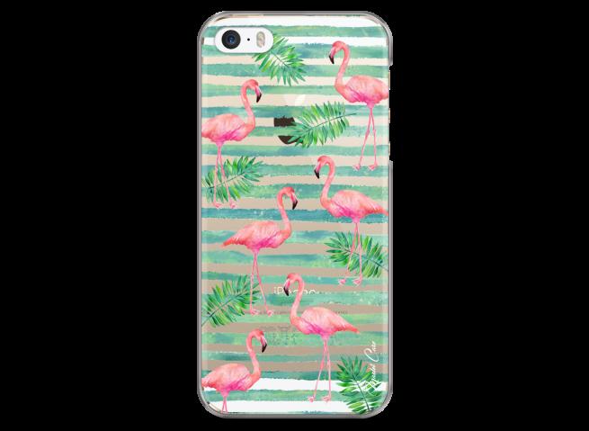Coque iPhone 5C Tropical watercolor design striped flamingo