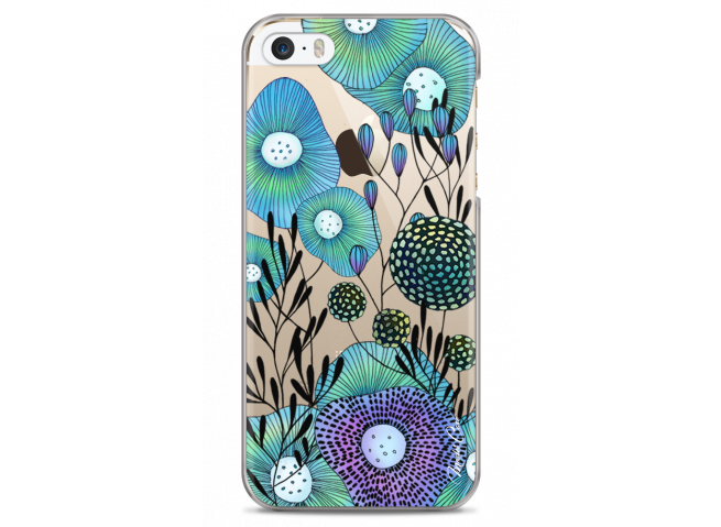 Coque iPhone 5/5s/SE Water blue drawing flowers