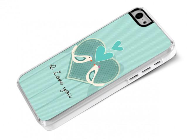 Coque iPhone 5C Saint Valentin 2015 - I Love You - Birds
