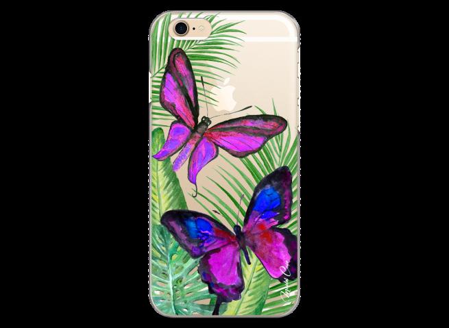 Coque iPhone 6Plus/6SPlus Fuchsia watercolor butterflies
