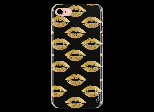 Coque iPhone 7/8 Gold Glitter Lips