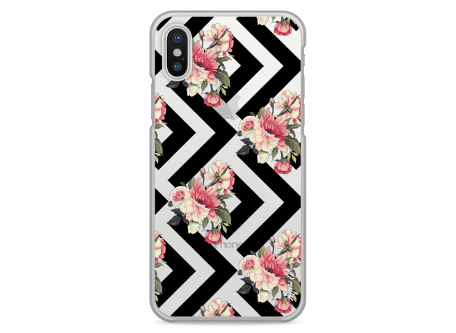 Coque iPhone XS MAX Black geometric flowers