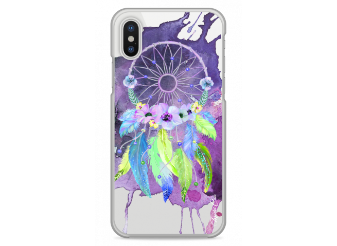 Coque iPhone XS MAX  Purple watercolor floral dreamcatcher