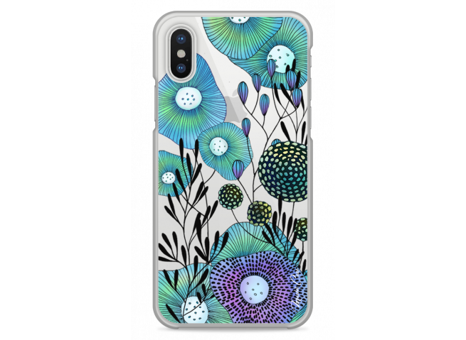 Coque iPhone XS MAX Water blue drawing flowers