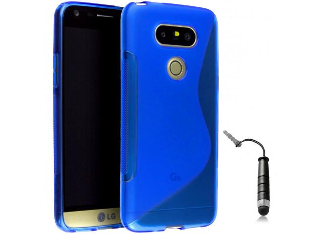 Coque LG G5 Silicone Grip-Bleu