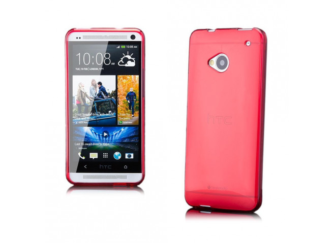 Coque HTC One M7 Silicone Opaque-Rouge