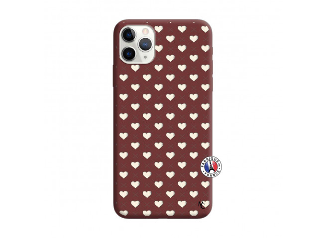 Coque iPhone 11 PRO MAX Little Hearts Silicone Bordeaux