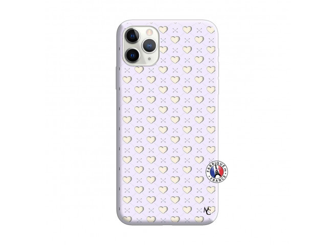 Coque iPhone 11 PRO MAX Little Hearts Silicone Lilas